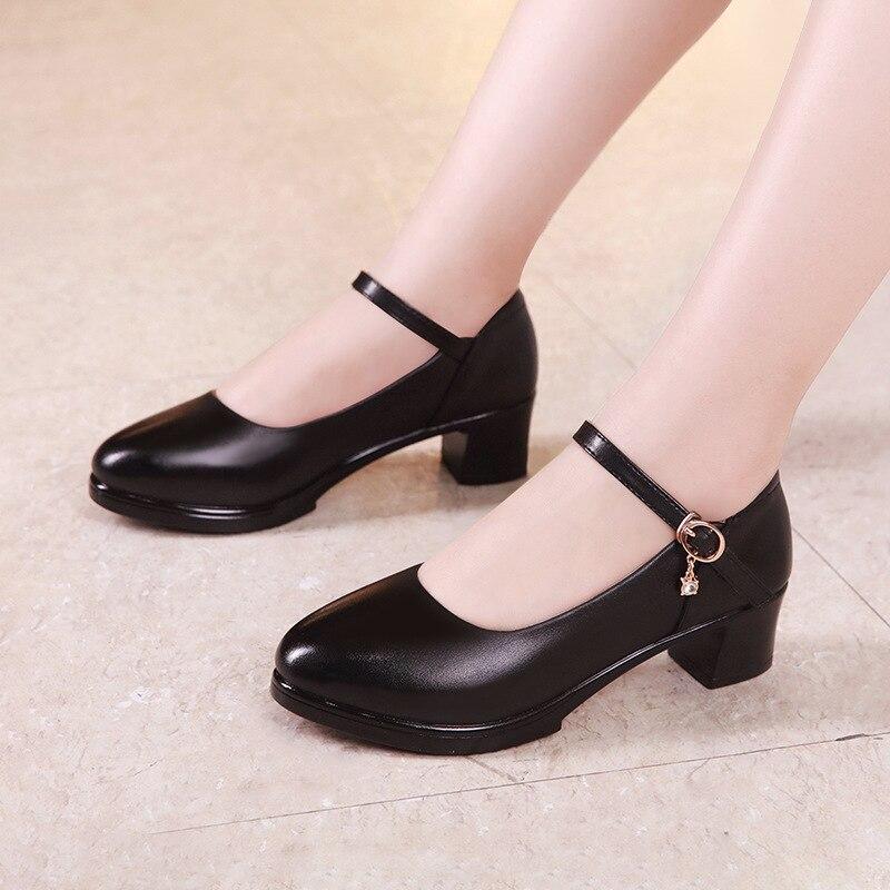 Talla grande 32-43 bombas de plataforma zapatos de mujer Tacón cuadrado 2019 primavera otoño Mary Jane zapatos señoras Oficina de Trabajo zapato medio tacones
