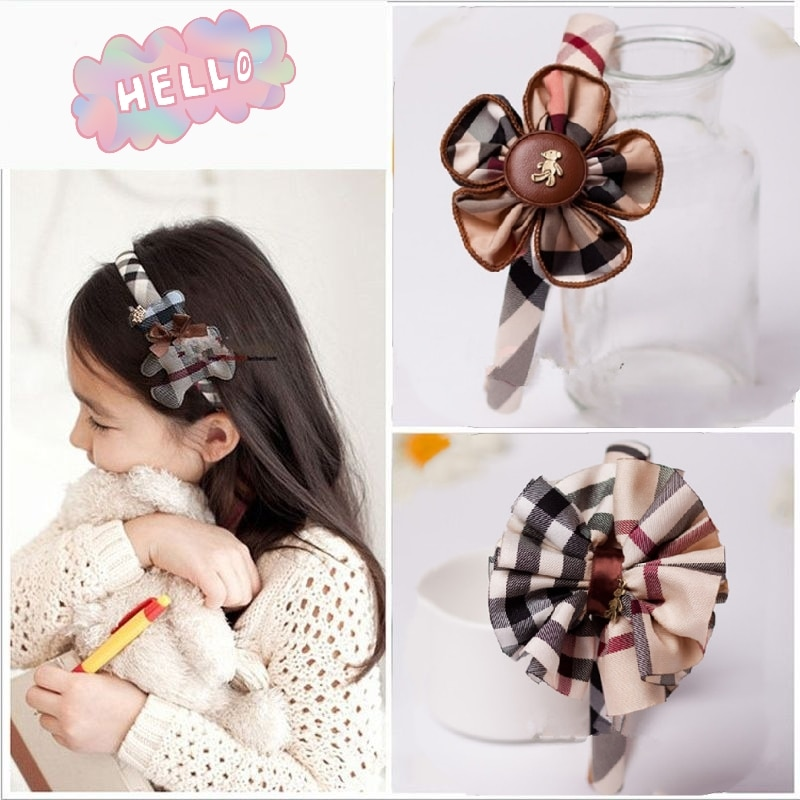 AliExpress - Fashion british plaid headband hairpin for women girls cute bowknot flower bear plaid hairband children hair accessories