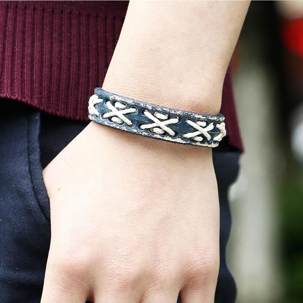 Vintage ręcznie robiona bransoletka skórzana skórzana bransoletka dla mężczyzn i regulowana biżuteria dla kobiet i bransoletka mankiet