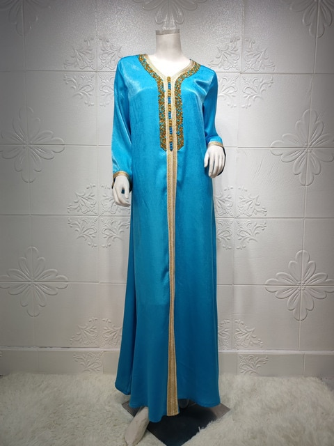 Ramadan Eid Blue Maxi Dress For Women Modest Muslim Turkey Arabic Dubai Diamond Ribbon V Neck Long Sleeve Jalabiya 2021 2