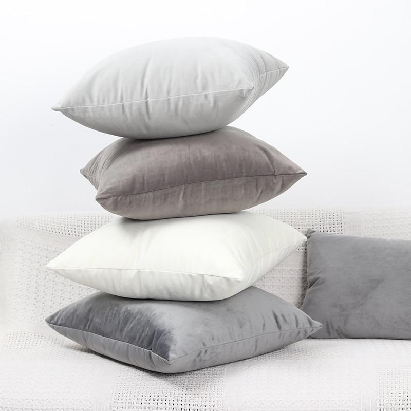 Роскошный серый бархатный чехол для подушки, наволочка для подушки, чехол для подушки, зеленый, желтый, розовый, синий, белый, черный, Декоративные диванные подушки