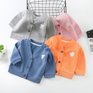 Unisex Toddlers Sweater Cardigan 2020 Autumn New Casual Solid Animal Appliques Knit Cardigan for Girl Boy Kids Sweater Coat