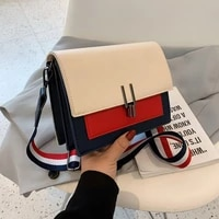 stitching color womens shoulder bags 2021 hit pu leather casual female squar bag summer trend young ladies luxury messenger bag
