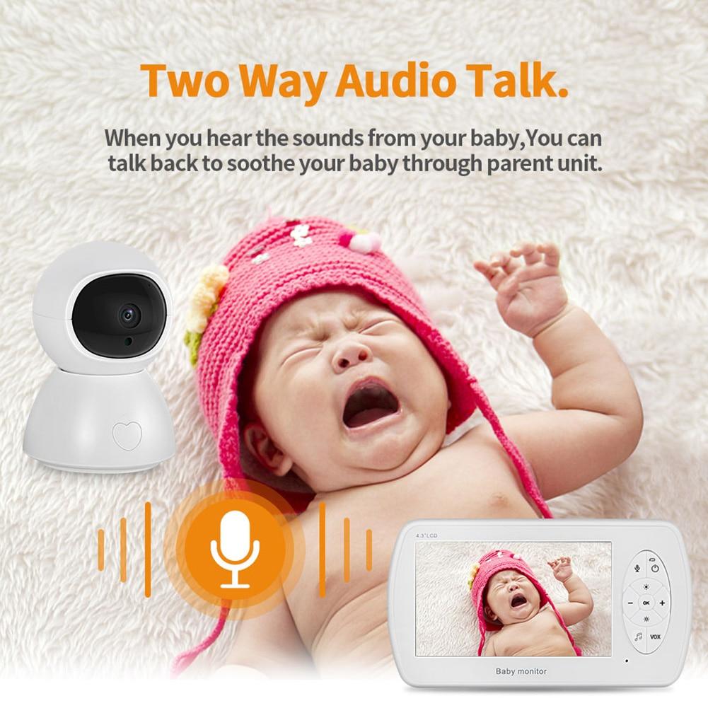 4,3 pulgadas de largo alcance inalámbrico Video y sonido de seguridad activado con cámara Monitor de bebé 1080P HD pantalla intercomunicador temperatura