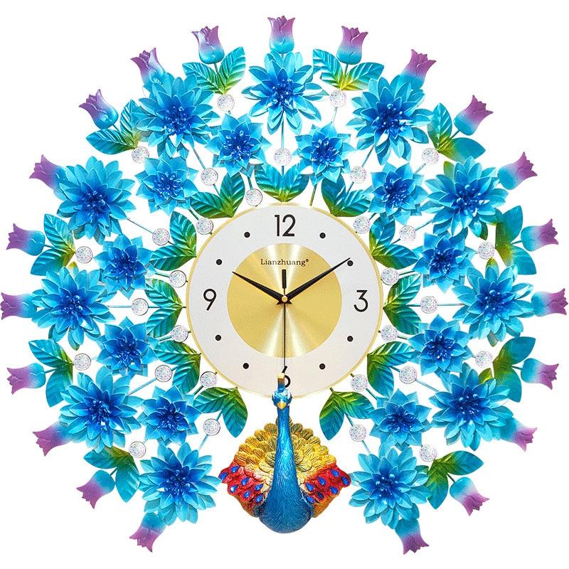 Azul Reloj de pared Pavo Real diseño moderno casa decoración de la pared reloj habitación reloj silencioso de dormitorio pared grande de Metal relojes digitales