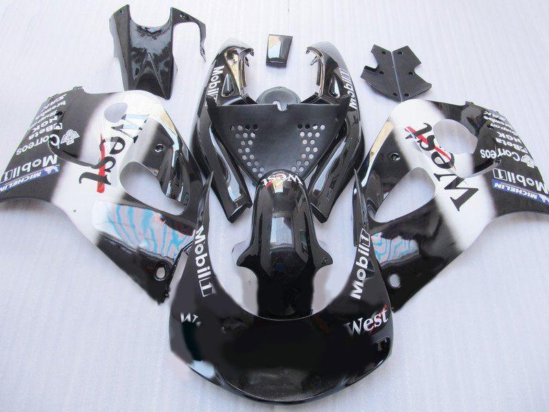 Kit de carénage pour WEST, blanc, noir, pour GSXR600, 750, 1996, 2000, GSXR600, GSXR750, GSX-R600, 750, 96, 97, 98, 99 00, et + 7 cadeaux