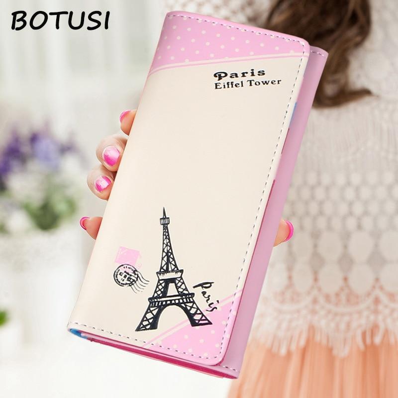 Женский Длинный кошелек BOTUSI, кожаный чехол для паспорта с Эйфелевой башней, на молнии