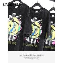 UNSETTLE 2020SS 하라주쿠 티셔츠 여름 남성/여성 힙합 웃긴 프린트 레트로 패션 Streetwear t 셔츠 반소매 티셔츠