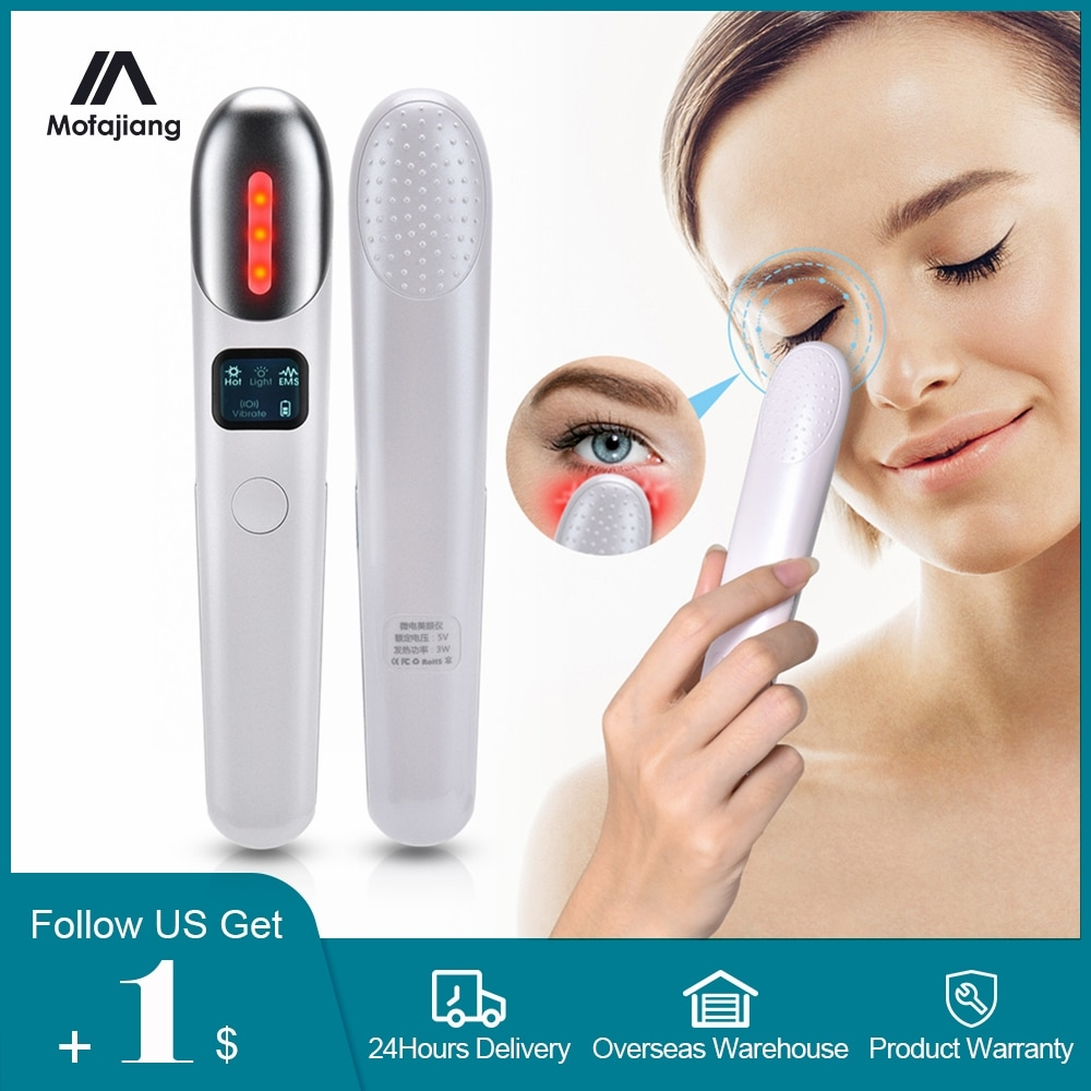 EMS Eyes Massage Red Light Therapy Rejuvenating Anti Wrinkles Removal Dark Circle Anti Aging Beauty Eye Care Vibration Massager