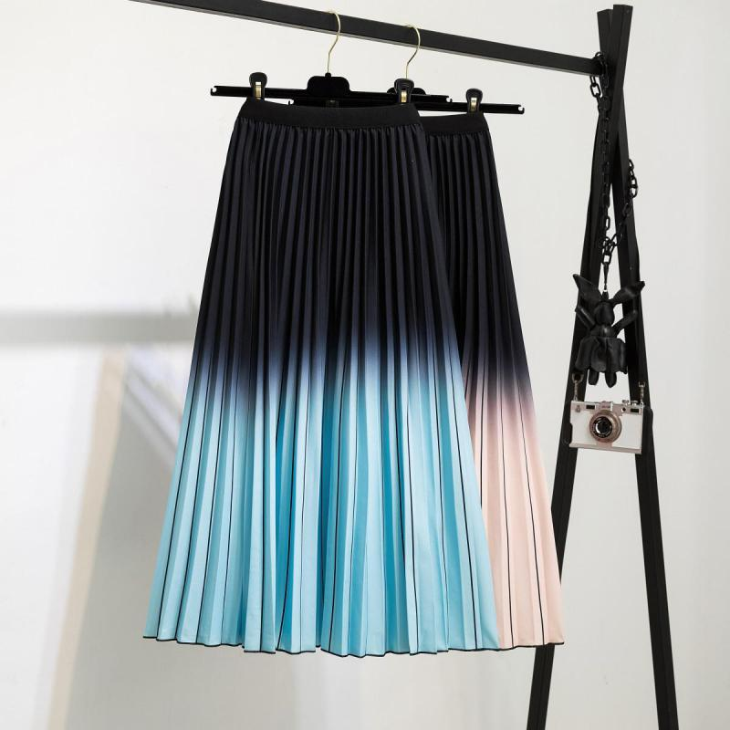 elastic waist pleated skirt 2021new Digital Print Pleated Skirt Women Elastic Waist Pleated Mid Summer Skirt Woman