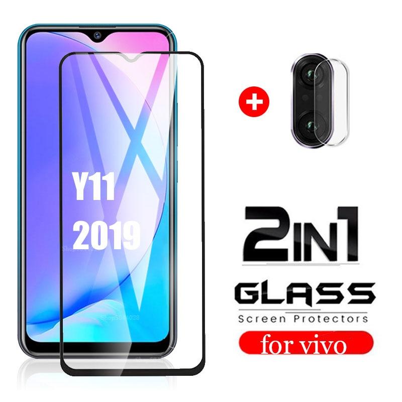 2in1 Full cover screen protector For vivo Y11 2019 Tempered Glass Camera Lens glass For Vivo y11 viv