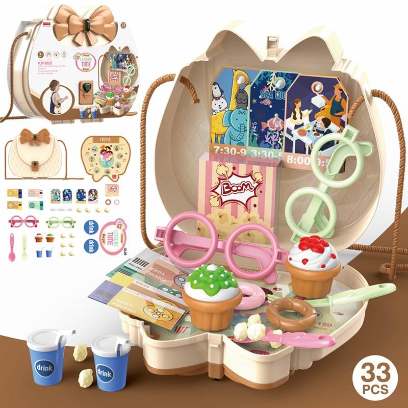 Children's Kitchen Toy Simulation Kitchen Tableware Makeup Accessories Shoulder Bag Toys Simulation Medicine Cabinet Set Gifts