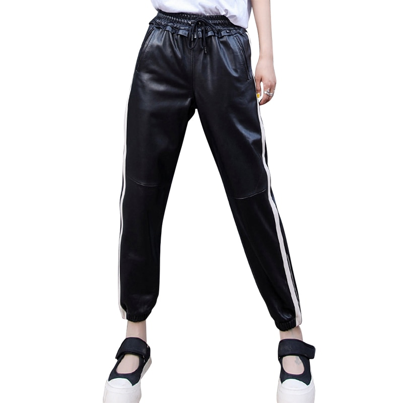 Genuine Leather Pants Women Plus Size Elastic Waist 2021 Autumn Winter Lady Sheepskin Trousers Women Mid Waist Harem Pants 3XL