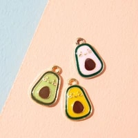 10pcs enamel gold color avocado charm pendant for jewerly diy making bracelet women necklace earrings accessories findings craft