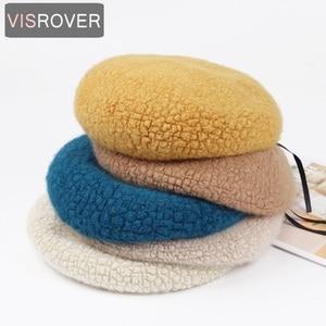 VISROVER 9 colorways solid Rabbit Fur Winter beret female Autumn cap Acrylic Bright warm hat  top quality Women Boina Wholesale