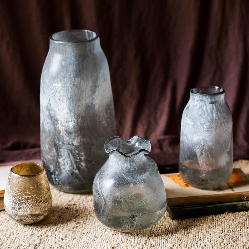 Jarrón moderno mate minimalista de vidrio hidropónico para flores, Jarrones transparentes de...