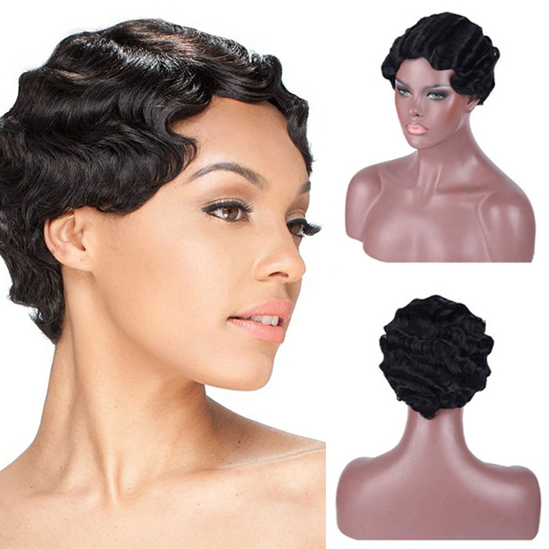 XUANGUANG Short Finger Wavy Wig Curly Wigs Synthetic High Temperature Nuna Wig Retro African Black Wigs for Women Natural Daily