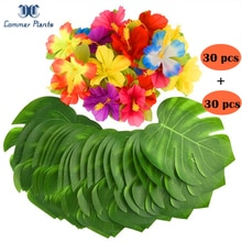 1 مجموعة 60 قطعة أزهار الكركديه وأوراق Monstera للحفلات هاواي الحرير لتقوم بها بنفسك النباتات الاستوائية وهمية للمنزل حديقة الطرف الديكور
