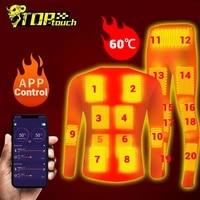 winter 20 zones heated underwear suit smart phone app control temperature usb battery powered fleece thermal motorcycle jacket