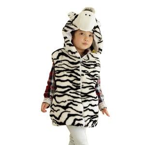 DOUBCHOW Cute Animal Vest Children Cartoon Zebra Winter Hooded  Kids Girls Boys Costume Cosplay Plush Outwear Coat Fleece Inside
