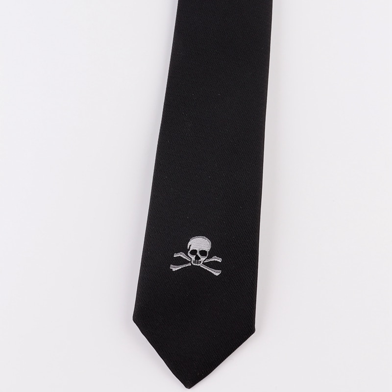 Free shipping New male men's necktie Original Design British Korean Casual Fashion Student 5CM Narrow Tie Embroidery Black Skull