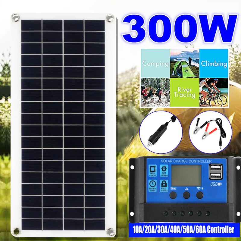 300W Solar Panel Kit Complete 12V USB With 10-60A Controller Solar Cells for Car Yacht RV Boat Moblie Phone Battery Charger