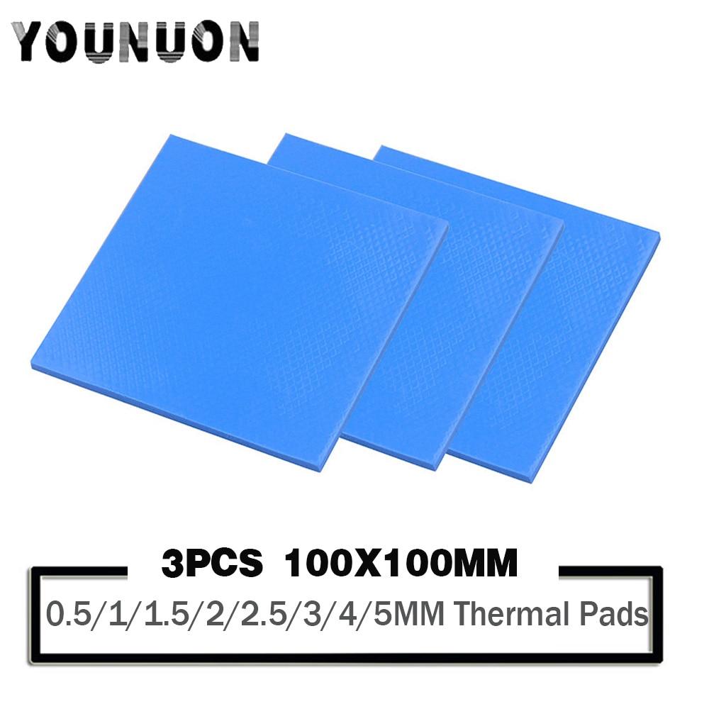 3Pcs 100x100mm Thermal Pad 0.5/1/1.5/2/2.5/3/4/5mm thickness Thermal Conductive Silicone Pad For Computer Laptop IC GPU VGA Card