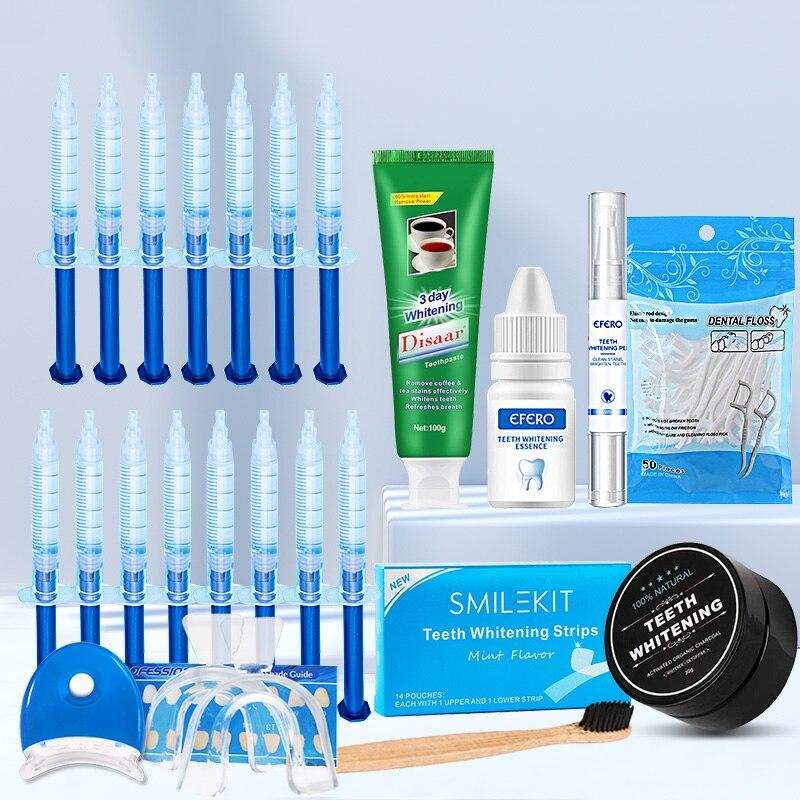 22PCS/SET Dental Floss Toothpicks+Strips+Whitening Toothpaste+Pen+Powder+Essence Gel Teeth Whitening Kit