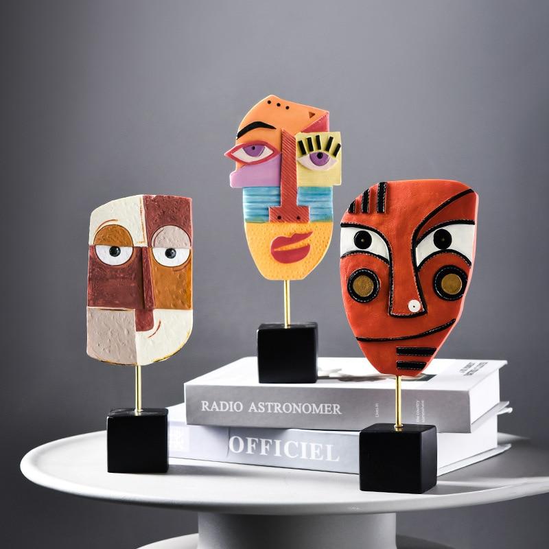 Sala de Estar Armário do Vinho Nordic Resina Artesanato Criativo Decoração Abstrata Rosto Cor Arte Post Moderno Casa Aconchegante Ornamento Ins