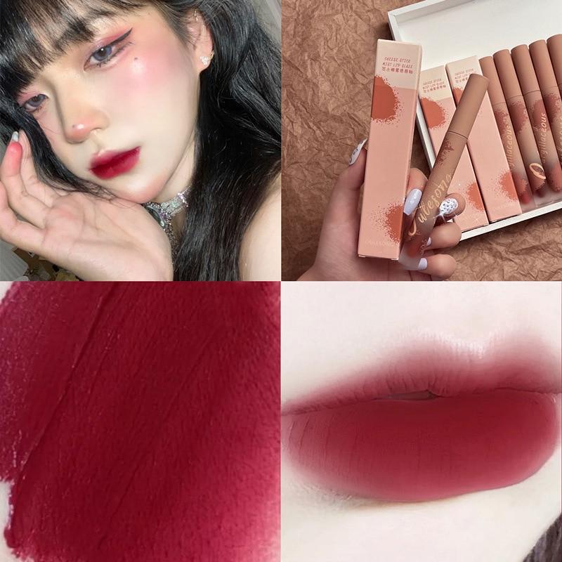 Velvet Lipstick Lip Mud Matte Waterproof Long Lasting Sexy Red Lip Glaze Moisturize High-quality Wom