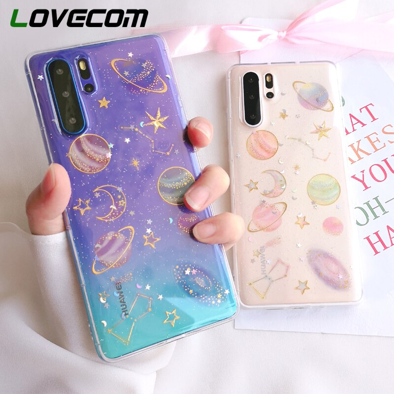 Funda de teléfono LOVECOM Planet Glitter para Huawei P40 P30 P20 Mate 30 20 Pro Lite Honor 8X 20X Nova 6 funda trasera blanda de epoxi