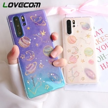 LOVECOM planeta brokat etui na telefony dla Huawei P40 P30 P20 Mate 30 20 Pro Lite Honor 8X 20X Nova 6 miękka epoksydowa tylna okładka Coque