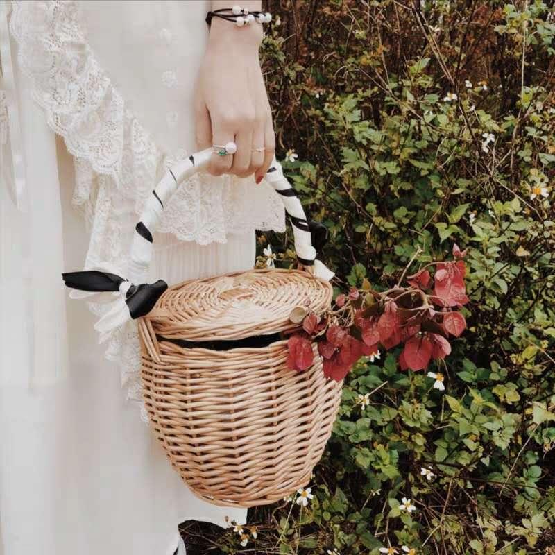 Cesta de mimbre tejida para Picnic, cesta de mimbre hecha a mano, cesta de mimbre, cesta de frutas para acampar, cesta de frutas, con tapa y Asa