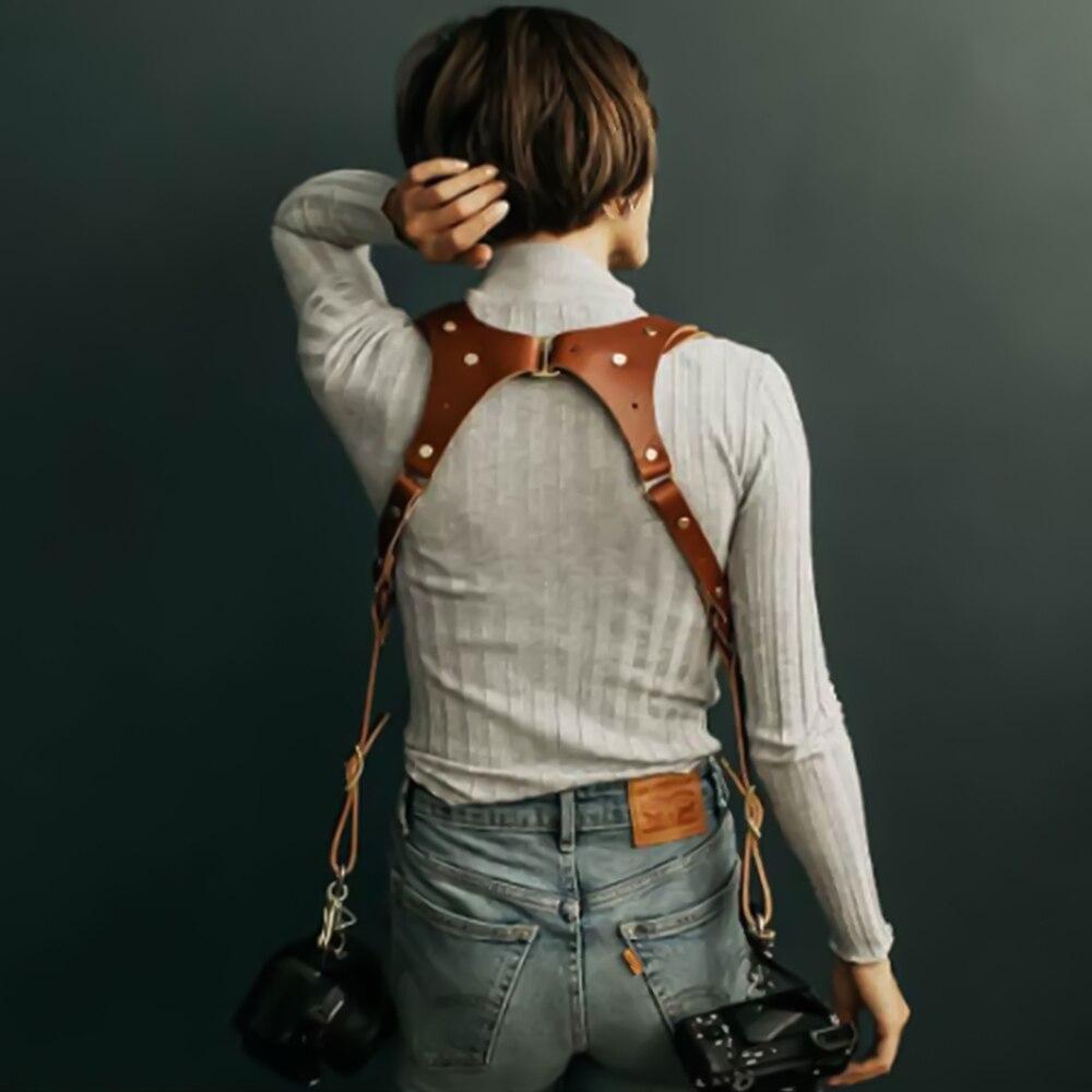Powstro كاميرا جلد طبيعي حزام الكتف قابل للتعديل DSLR واحد مزدوج ارتفع سندان الهند إيرل تسخير لكانون اكسسوارات