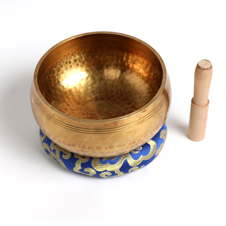 Silent Mind  Tibetan Singing Bowl Set  Antique Design  With Dual Surface Mallet and Yoga physiotherapy uses this pure bowl voice enlarge