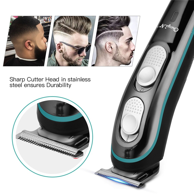 CkeyiN USB Rechargeable Beard Trimmer Professional Hair Clipperr Adjustable Blade Barber Electric Hair Cutting Machine Haircut enlarge