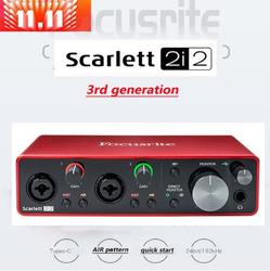 Focusrite scarlett 2i2 (3rd gen) interface de áudio profissional usb placa de som com microfone preamp