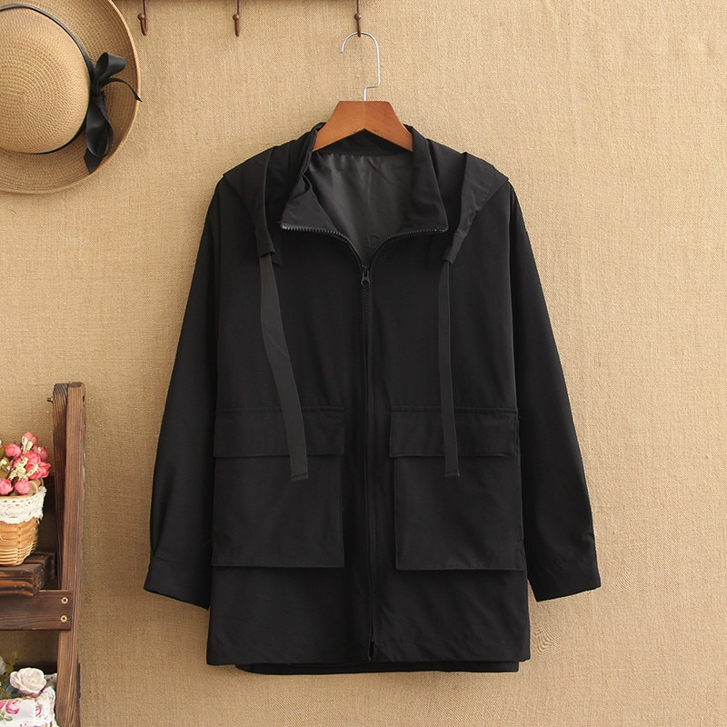 Plus Size Jacket For Women Spring Collection Short Trench Coat 220 Pounds Lady's Trench Large Size Blazer For Fatwomen In Fall