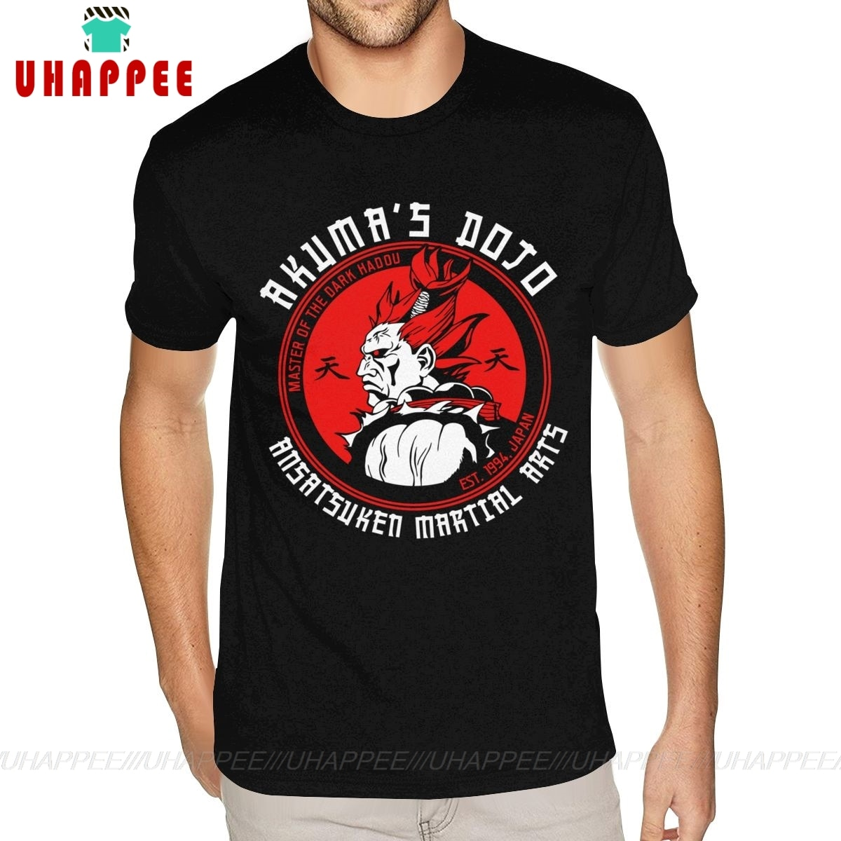 Gran oferta, camisetas fotográficas Akuma Dojo, camisetas personalizadas de manga corta de San Valentín para hombre, camiseta negra 3XL