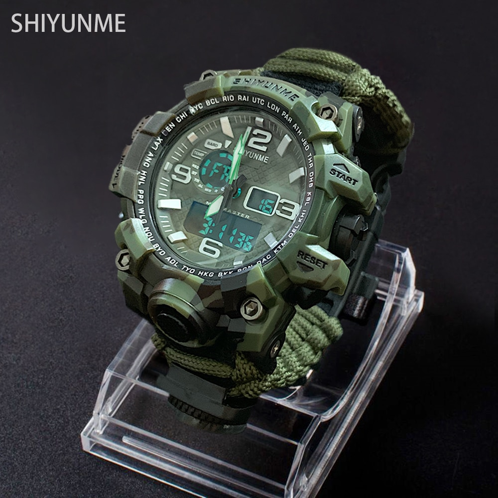 Men Military Outdoor Sport Watch Compass Multifunctional Waterproof Quartz Watch Thermometer LED Digital Watch relogio masculino