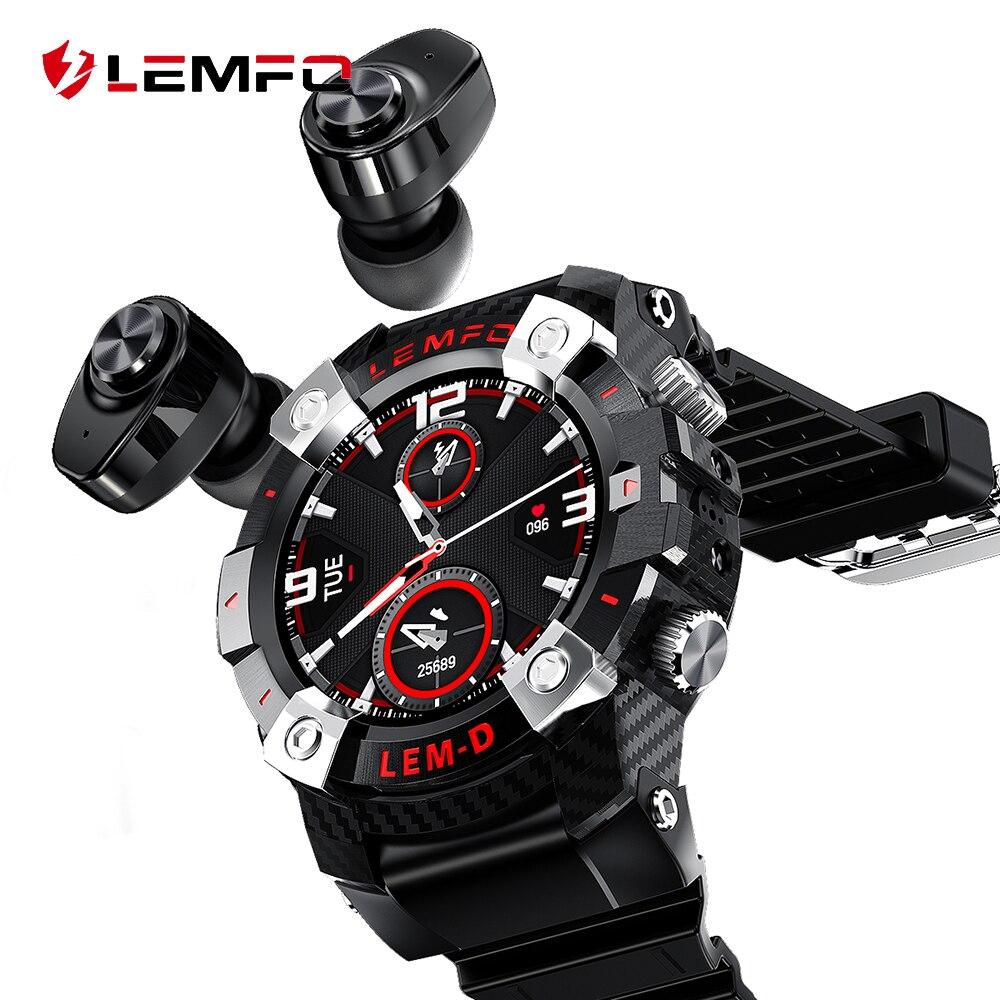 LEMFO LEMD 2020 Sport Smart Watch TWS Bluetooth Earphone 2In1 360*360 HD Display 350Mah Battery Multi Language Smartwatch Men