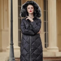 fashion winter longer thick warm fluffy down coat female bread style big real fur hoeded down parkas warm down jackets f2171
