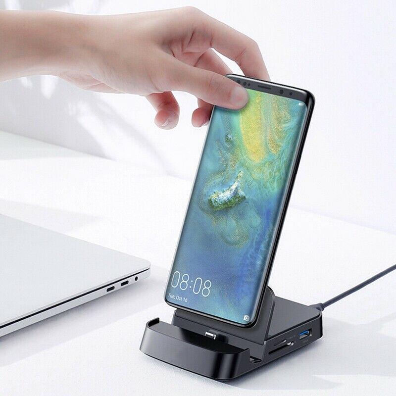 7-In-1 USB نوع C محور محطة الإرساء لسامسونج S20 ديكباد حوض محطة USB-C إلى HDMI متوافق USB 3.0 SD TF بطاقة PD محول