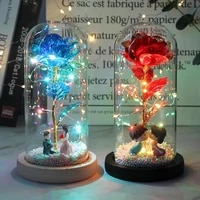 artificial eternal rose led light with glass cover christmas home decor for mother valentines day new year gift christmas gift