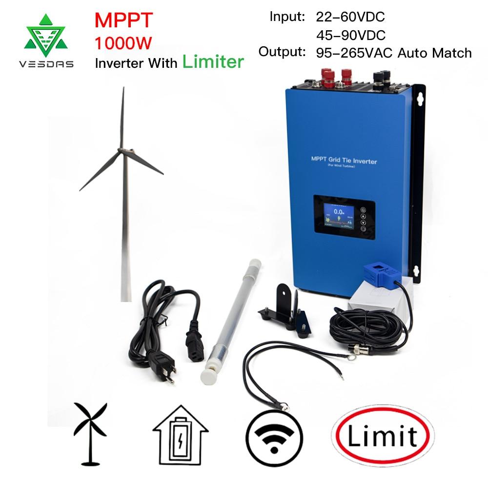 MPPT 1000W de lazo de la rejilla 3 frase inversor de energía eólica Microinverter de onda sinusoidal pura con limitador de 24/48V turbina aerogeneradora