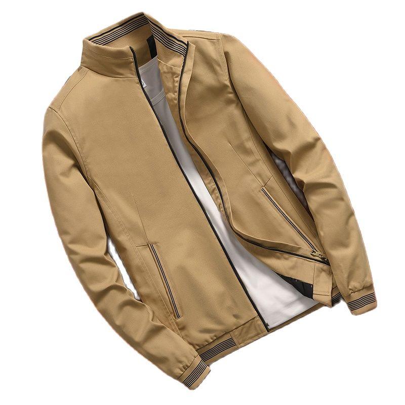 Новая весенняя Мужская куртка, повседневное Мужское пальто, мужское пальто с круглым воротником, однотонное пальто