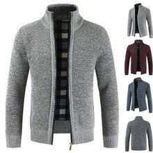 Herbst und Winter Neue männer Stehkragen mit Fleece und Verdickt Zipper Pullover Langarm Strick Pullover Mantel Männer der Tr