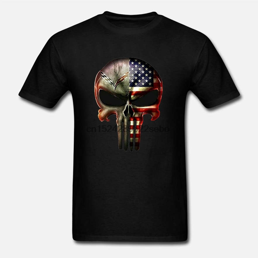 Corvette C7 C6 C5 C4 C3 C2 C1 Z06 Zr1 Punisher Amerikanische Flagge T-Shirt S-3Xl T