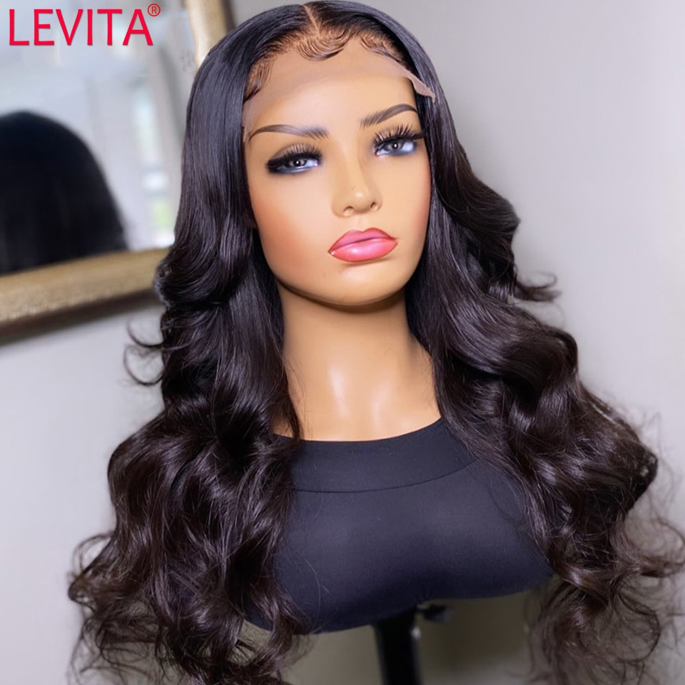 AliExpress - LEVITA Wholesale Body Wave Lace Front Wig Pre Plucked Brazilian Lace Front Human Hair Wigs For Women Cheap 4×4 Lace Closure Wig