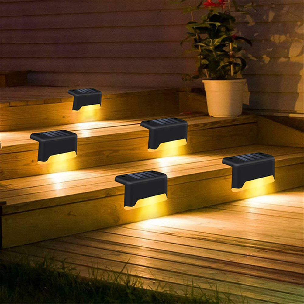 Светодиодное уличное освещение на солнечной батарее, Водонепроницаемый ночник с датчиком освещения для сада, патио, балкона, забора, лестни...